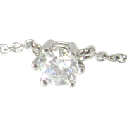 Diamond Solitaire Platinum Necklace .55 Carat VS G Color Vintage Estate