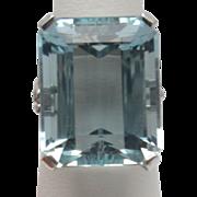 F & F Felger Co. Rare Natural 24 Carat Aquamarine Ring 14K Estate C.1940 Signed FFF