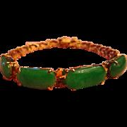 Jadeite Jade Bracelet 14K Vintage Estate Natural