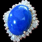 Lapis And Diamond Halo Ring 14K 32.04 Carats Vintage Estate