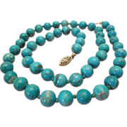 Natural Turquoise Necklace 14K Gold 8 MM Beads Vintage Estate