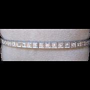 Art Deco Diamond And Platinum 4 Carat Line Bracelet Estate