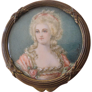 19th Century French Bronze Hand Painted Miniature Portrait Trinket/Patch Box Signed Hallais