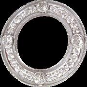 Art Deco 4 Carat Diamond & Platinum Circle Brooch Hollywood Glamour