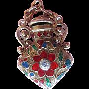 Victorian Old Mine Cut Diamond And Enamel Chatelaine Perfume Bottle 14k Pendant; Poppy Flower;Poison Bottle;Snuff Bottle