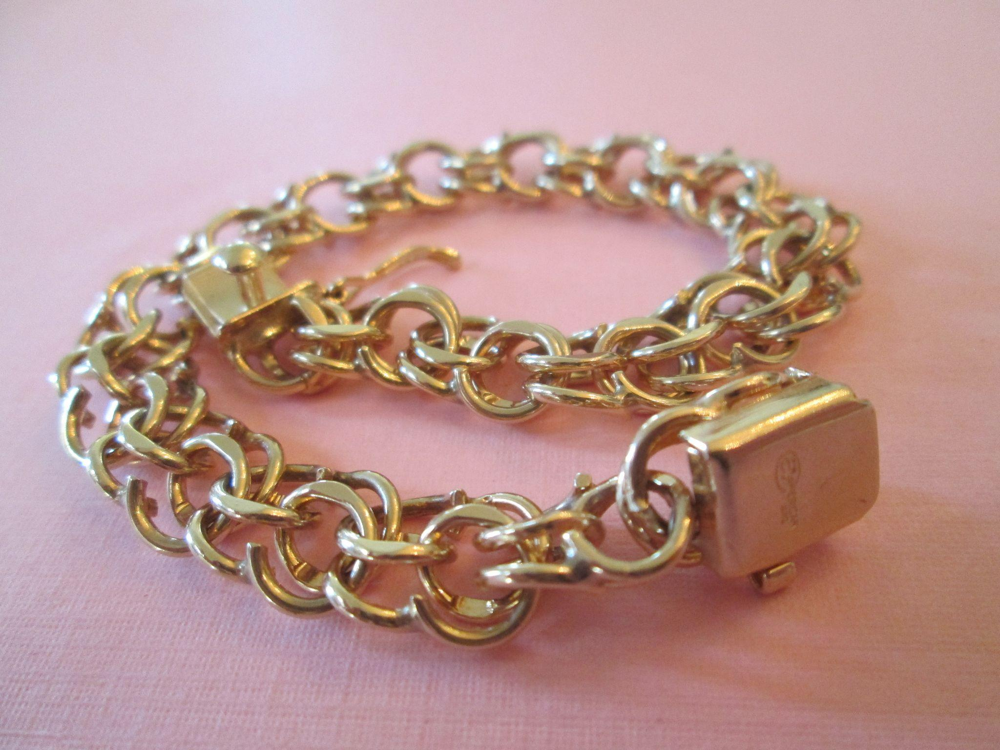 1950s Heavy 14K Double Link Charm Bracelet 24 5 Grams 7 75 Inches