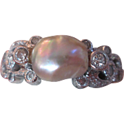 Edwardian Natural Saltwater Sea Pearl Diamond & Platinum Ring Band