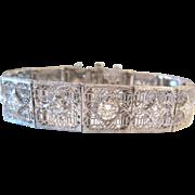 2.30 Carat Diamond Bracelet Platinum 14K Art Deco Bracelet Filigree