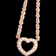 Tiffany & Co Diamond Heart Necklace 18K White Gold Retired Estate