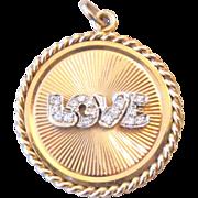 Rare Diamond Love Dankner Charm Pendant 14k Estate C.1960s