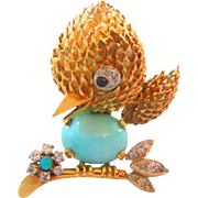 18K And Diamond Bird Brooch ;18K Persian Turquoise Brooch;Vintage 18K Brooch