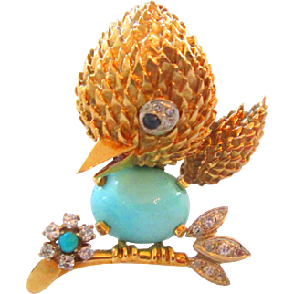 18K 17.5 Grams Diamond Persian Turquoise And Sapphire Tweety Love Bird Brooch Vintage Estate