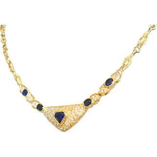 Appraised $9.800.00 GIA GG 4.71 Carat 18K No Heat Natural Blue Sapphire And Diamond Necklace;Sapphire and Diamond Necklace