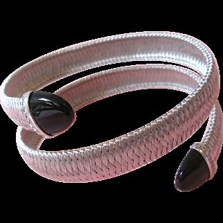 36.7 Grams;18K Gold Bracelet/Bangle With Diamonds; & Onyx Estate;18k diamond bracelet;yurman bracelet;Designer 18k Bracelet/Bangle