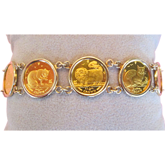 24K Gold Queen Elizabeth Isle Of Man Cat Coin Bracelet 14K Bezel 99.99 Fine Gold Coins Vintage Estate