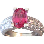 4 Carat TW Diamond And Rubellite Neon Pink Tourmaline 18K Pomellato Ring Italy Vintage Estate