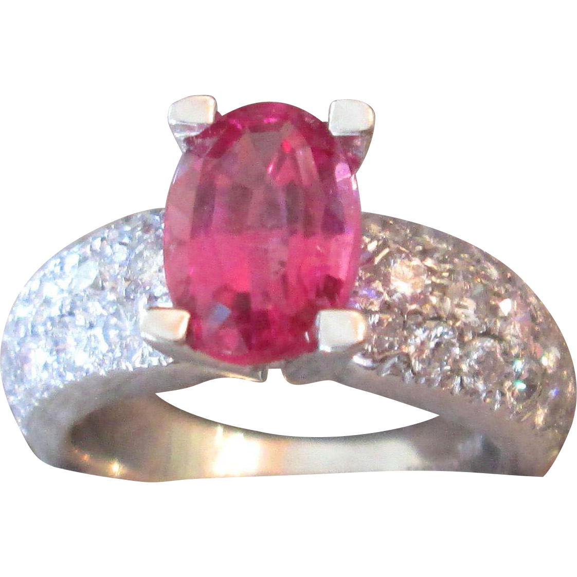 4 Carat TW Diamond And Rubellite Neon Pink Tourmaline 18K Pomellato Ring Italy Vintage Estate