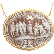 Large 2.50 Carats Diamonds 14K Carved Cameo Necklace Estate