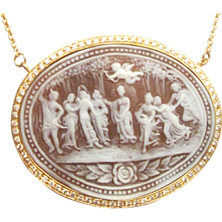 Large 2.50 Carats Diamonds 14K Carved Cameo Necklace Estate