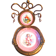 French Antique Watch Holder Napoleon III Porcelain Painted Cherub Gilt Bronze Double Snakes