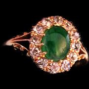 Victorian Jadeite Jade And Diamond Ring 18K