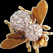 18k Large 3 Carat Diamond Herbert Rosenthal Bee Pin Brooch 18K Vintage Estate Signed;Tiffany and Co.Brooch