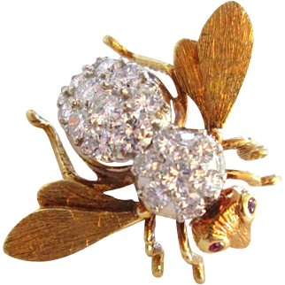 18k Large 3 Carat Diamond Herbert Rosenthal Bee Pin Brooch 18K Vintage Estate Signed;Tiffany and Co.Brooch
