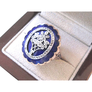 Large 15k Georgian Diamond & Royal Blue Enamel Flower Ring 15K