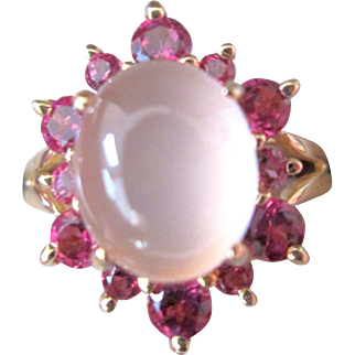 14K Moonstone & Garnet Ring 4.72 Carat TW Vintage Made In Hong Kong
