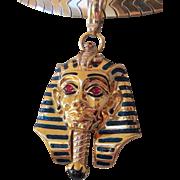 Heavy 24.6g Egyptian Revival 18K King Tut Pharaoh Pendant Enamel Rubies Onyx