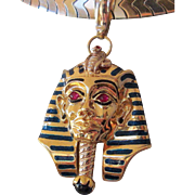 Heavy Egyptian Revival 18K King Tut Pharaoh Pendant Enamel Rubies Onyx