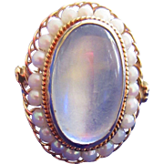 Art Deco 14k Moonstone And Seed Pearl Ring  Bezel Set