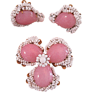 Signed Miriam Haskell Pink and White Glass Demi Parure Set Brooch and Earrings Vintage