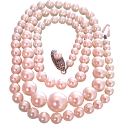 Signed Mikimoto Vintage Classic Akoya Pearl Necklace 18 Inch Sterling Silver Clasp