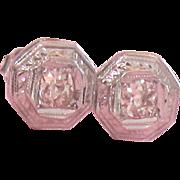 Art Deco Diamond Old European Cut .40 TW 14k Octagon Stud Earrings Vintage