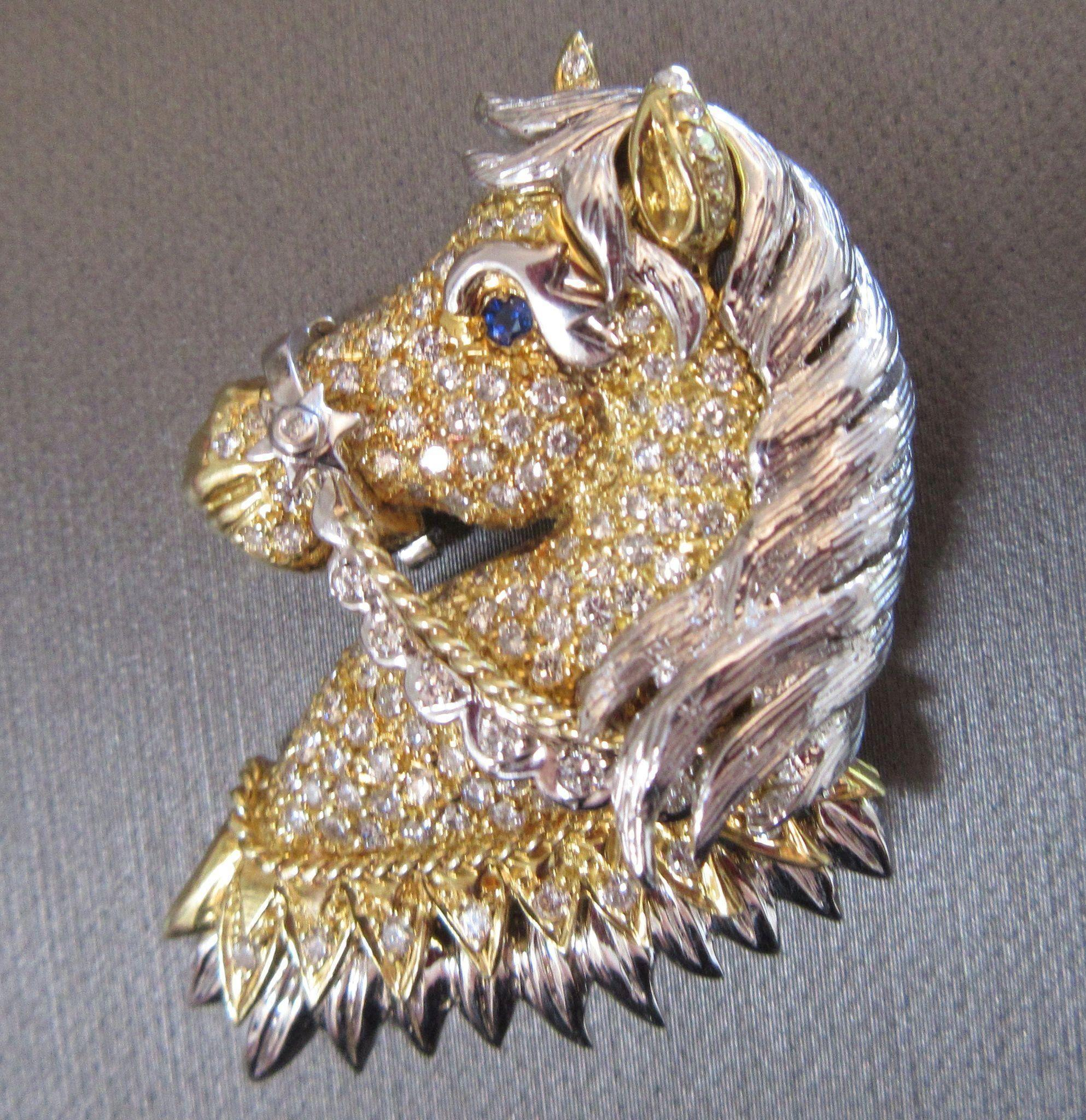 Sale 18k 316g gold 280 carat diamond encrusted horse pendant roll over large image to magnify click large image to zoom aloadofball Image collections