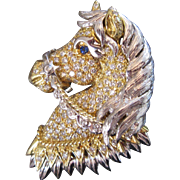 18k 31.6g Gold 2.80 Carat Diamond Encrusted Horse Pendant/ Brooch Vintage 1960s French Hallmarked