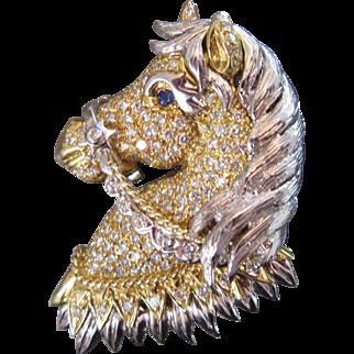 18k 31.6g Gold 2.80 Carat Diamond Encrusted Horse Pendant/ Brooch Vintage 1960s French Hallmarked