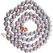 14K Baroque Akoya Saltwater Natural Blue Grey Pearl Necklace 36 Inches Vintage 1970s
