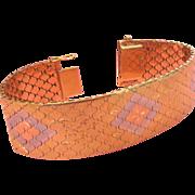 18K Heavy 73.8 Grams Italian Mid Century Snake Bracelet