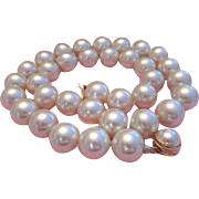 Majorica Signed Faux South Sea Pearls 16MM 24 Inches Necklace Sterling Silver Clasp