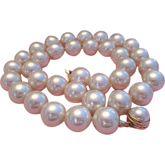 Majorica 16MM 24inch Signed Faux South Sea Pearls Necklace Sterling Silver Clasp With Gold Tone Vermeil