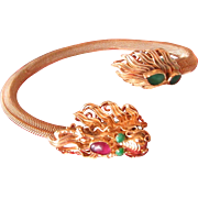 Qing  Dynasty Antique Chinese Bracelet 22K & 14K Gold Jade Emerald & Tourmaline Dragon Rare