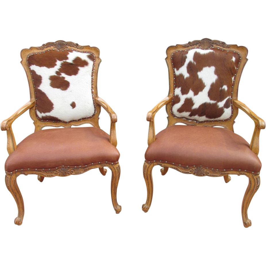 Cowhide chairs hair on hide accent fire side chair pair for Furniture chairs