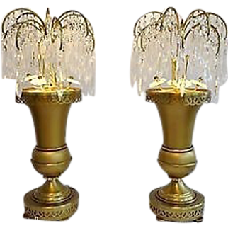 Pair Art Deco Crystal Lustres Lusters Waterfall Girandoles Urn Lamp Pair