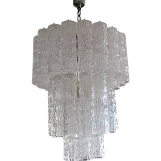 MURANO Tronchi Chandelier Glass Wedding Cake 3 Tier Tube Mid Century Modern