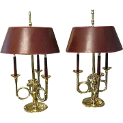 Vintage Bouillotte Lamp Pair Stately Brass French Hunt Horn Lamps