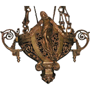 Rare Antique Bronze Sanctuary Lamp Figural Religious Chandelier Church Chalice