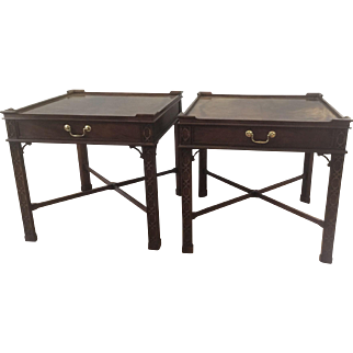BAKER Furniture Chinoserie Chippendale End Side Table Night Stand Pair