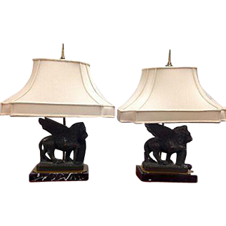 CHAPMAN Brass Figural Winged Lion Lamp Pair